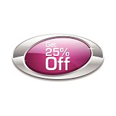 Get 25 Percent Pink Vector Icon Button