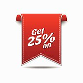 Get 25 Percent Red Vector Icon Design