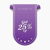 Get 25 Percent Violet Vector Icon Design