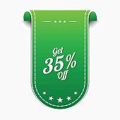 Get 35 percent Green Vector Icon Design
