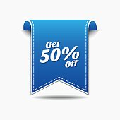 Get 50 Percent Blue Vector Icon Design