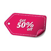 Get 50 Percent Pink Vector Icon Design