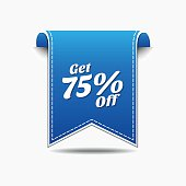 Get 75 Percent Blue Vector Icon Design
