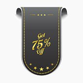 Get 75 Percent golden Vector Icon Design