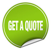 get a quote round green sticker isolated on white
