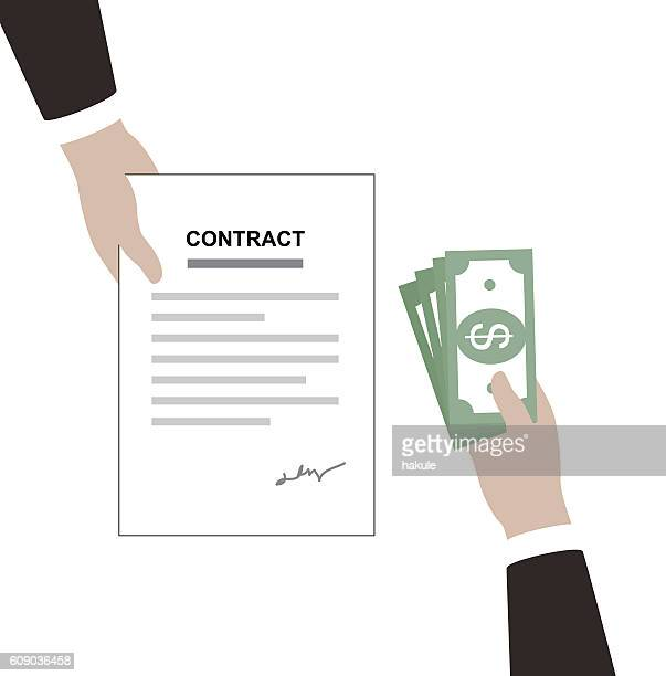 Get money for contrac, vector illustration