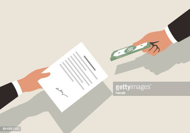 get money for contrac, vector illustration - loan stock illustrations