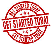 get started today round red grunge stamp