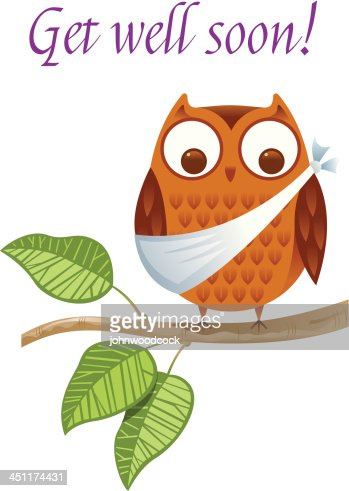 a get well soon card with an injured owl vector art