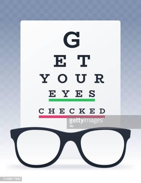 あなたの目をチェックアイチャートと眼鏡ビジョンテストを取得 - 検眼医点のイラスト素材/クリップアート素材/マンガ素材/アイコン素材
