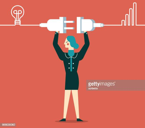 getting plugged in - businesswoman - steel cable stock illustrations, clip art, cartoons, & icons