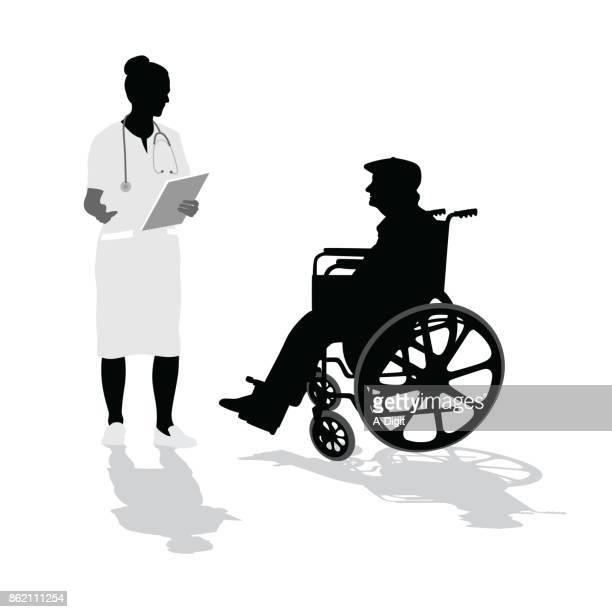 ilustraciones, imágenes clip art, dibujos animados e iconos de stock de que a la enfermera del hospital de diagnóstico - asistente de enfermera