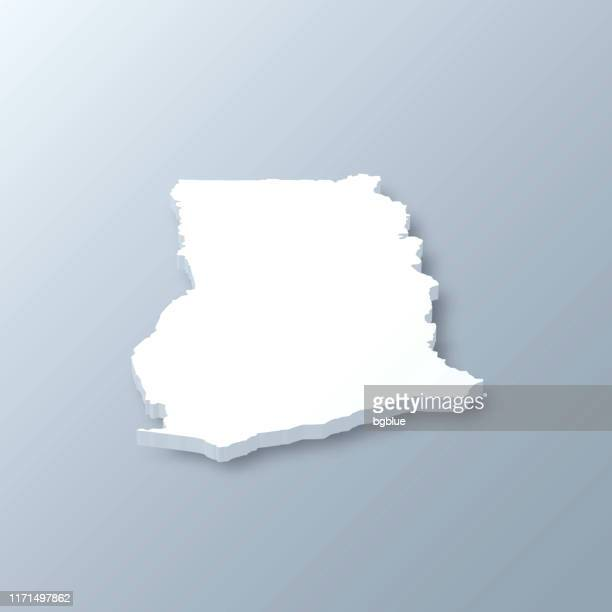 ghana 3d map on gray background - accra stock illustrations, clip art, cartoons, & icons