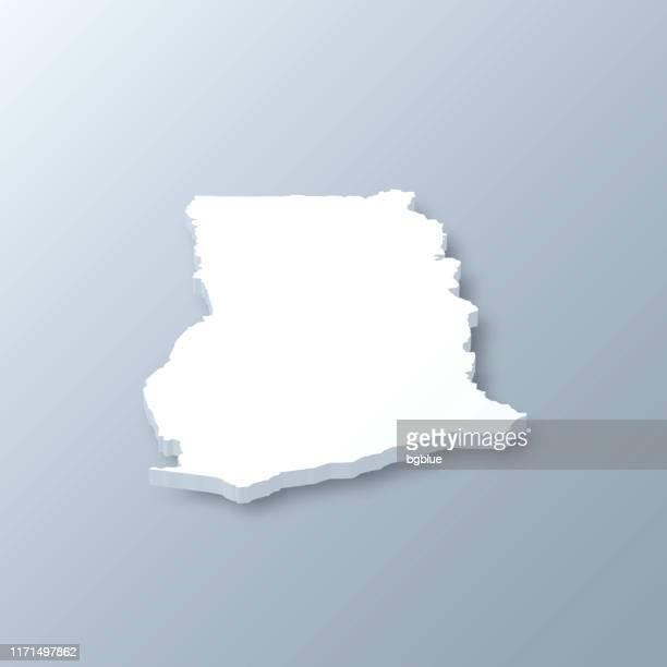 ilustrações, clipart, desenhos animados e ícones de mapa de ghana 3d no fundo cinzento - gana