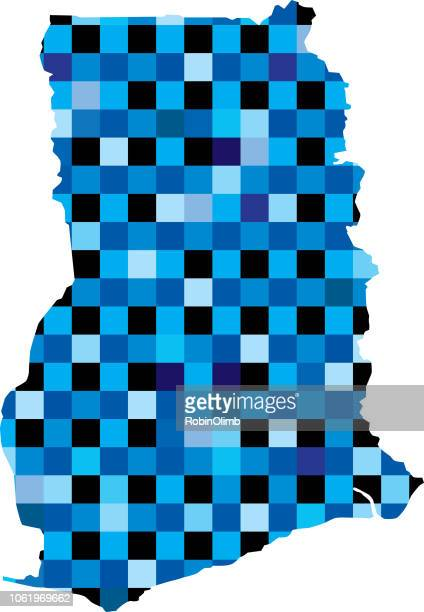 ghana blue squares maps - accra stock illustrations, clip art, cartoons, & icons
