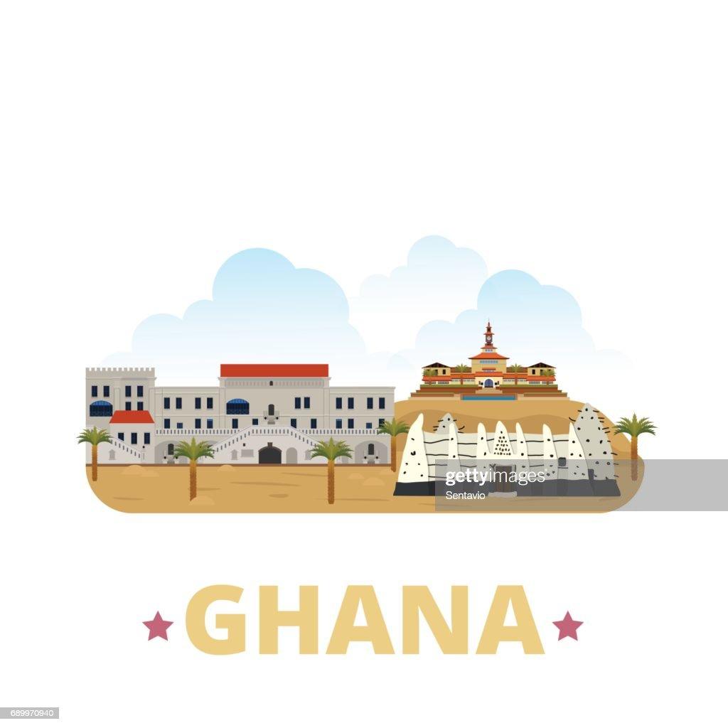 Ghana country flat cartoon style historic sight showplace web site vector illustration. World vacation travel sightseeing Africa fcollection. Cape Coast Castle University of Ghana Larabanga Mosque.