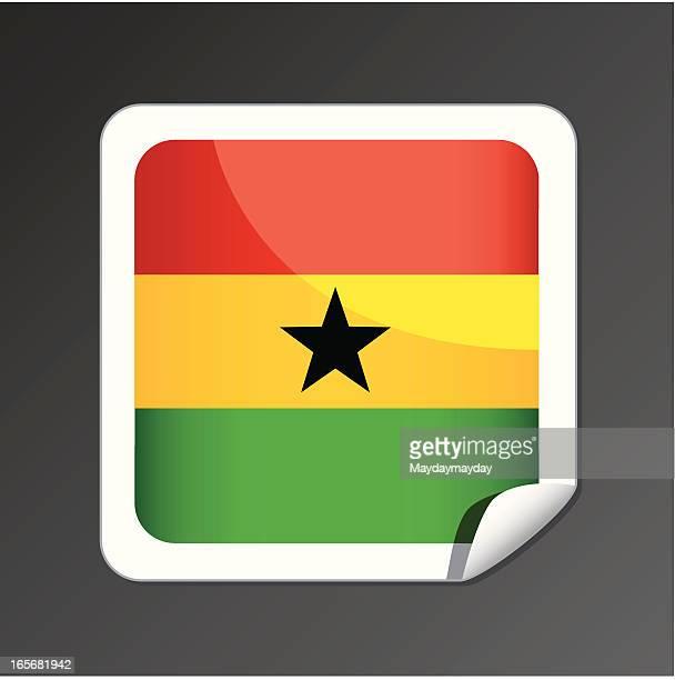 ghana flag icon - ghana stock illustrations, clip art, cartoons, & icons
