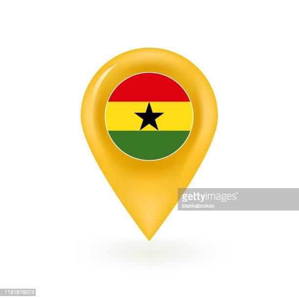 ilustrações, clipart, desenhos animados e ícones de ícone do pino do mapa da bandeira de ghana - gana