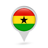 Ghana Flag Round Pin Icon
