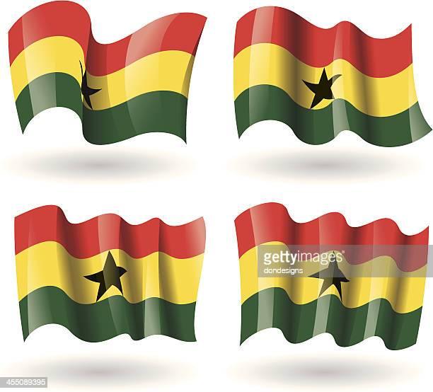 ghana flag waving set - ghana stock illustrations, clip art, cartoons, & icons