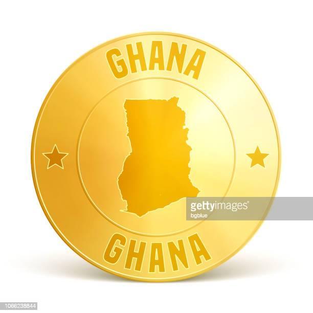 ghana - gold coin on white background - ghana stock illustrations, clip art, cartoons, & icons