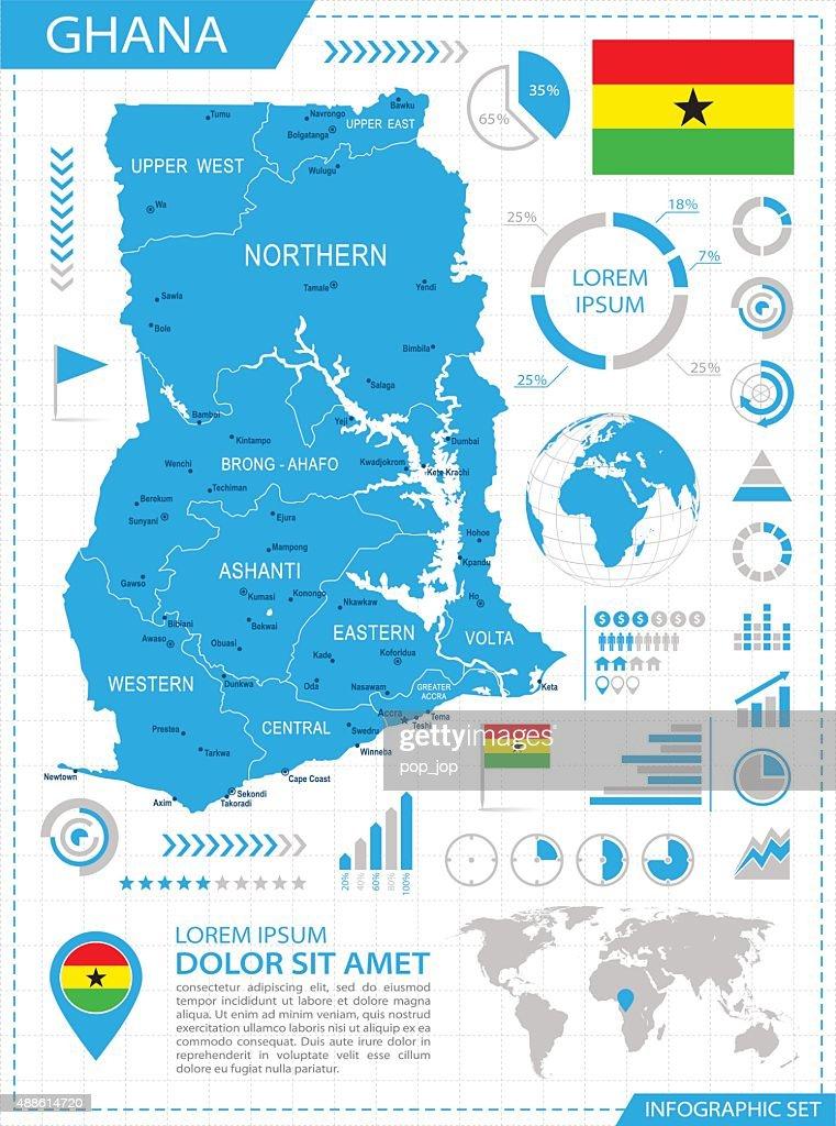Ghana - infographic map - Illustration : Stock Illustration