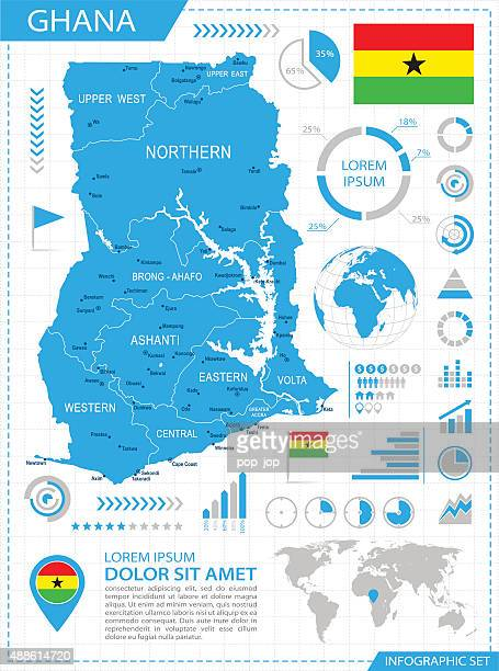 ghana - infographic map - illustration - ghana stock illustrations, clip art, cartoons, & icons