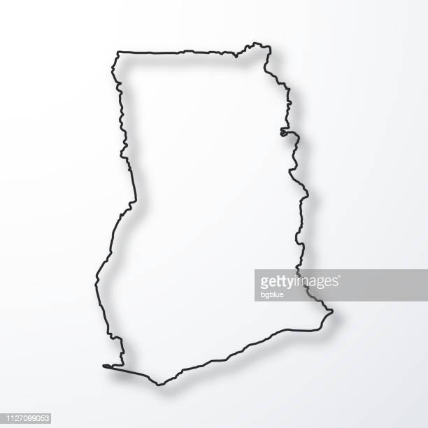 ghana map - black outline with shadow on white background - ghana stock illustrations, clip art, cartoons, & icons