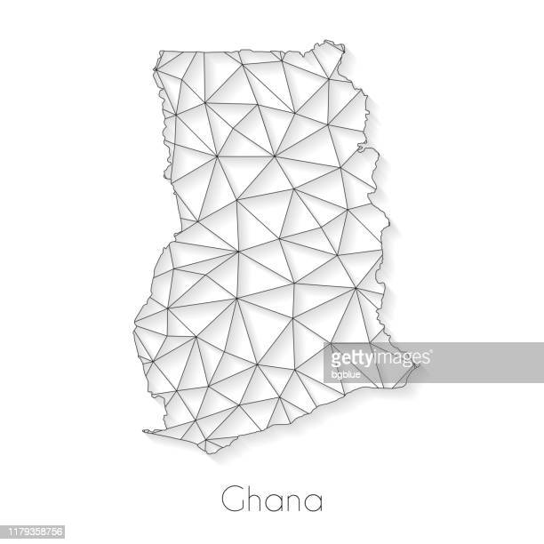 ghana map connection - network mesh on white background - accra stock illustrations, clip art, cartoons, & icons