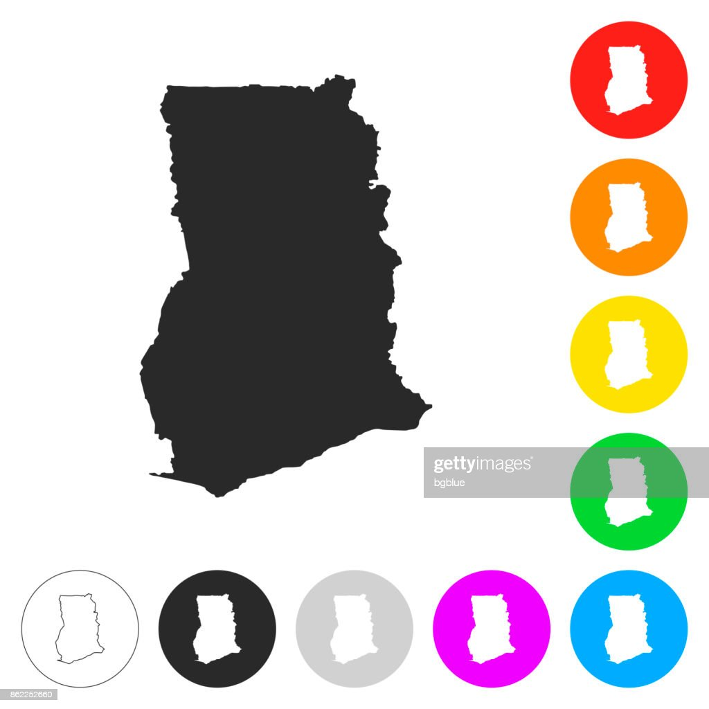 Ghana map - Flat icons on different color buttons : stock illustration