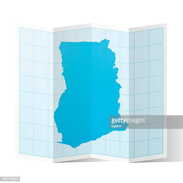 ghana map folded, isolated on white background - accra stock illustrations, clip art, cartoons, & icons
