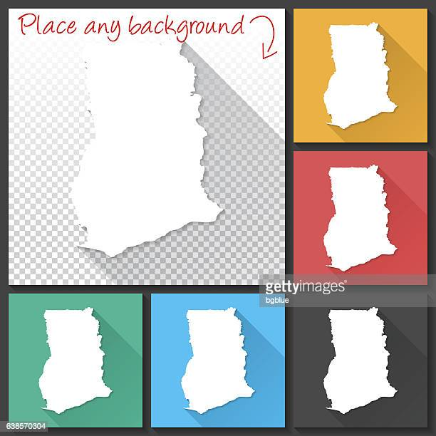 ghana map for design, long shadow, flat design - accra stock illustrations, clip art, cartoons, & icons