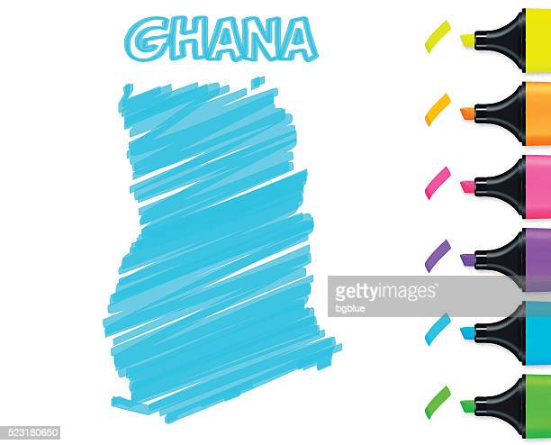 ghana map hand drawn on white background, blue highlighter - accra stock illustrations, clip art, cartoons, & icons