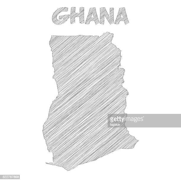 ghana map hand drawn on white background - ghana stock illustrations, clip art, cartoons, & icons