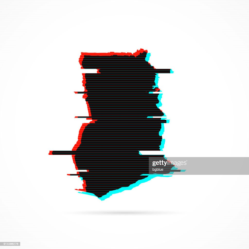 Ghana map in distorted glitch style. Modern trendy effect : stock illustration