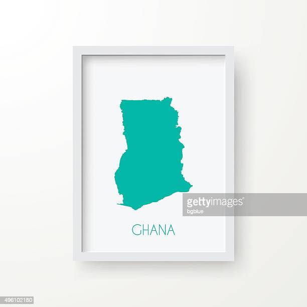 ghana map in frame on white background - accra stock illustrations, clip art, cartoons, & icons