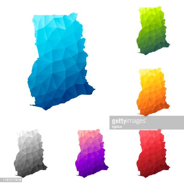 ghana map in low poly style - colorful polygonal geometric design - accra stock illustrations, clip art, cartoons, & icons