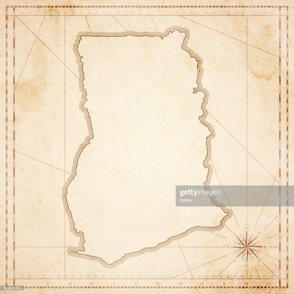 Mapa de Ghana en estilo vintage retro - antiguo papel con textura : Ilustración de stock