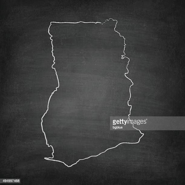 ghana map on blackboard - chalkboard - accra stock illustrations, clip art, cartoons, & icons