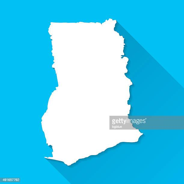 ghana map on blue background, long shadow, flat design - accra stock illustrations, clip art, cartoons, & icons