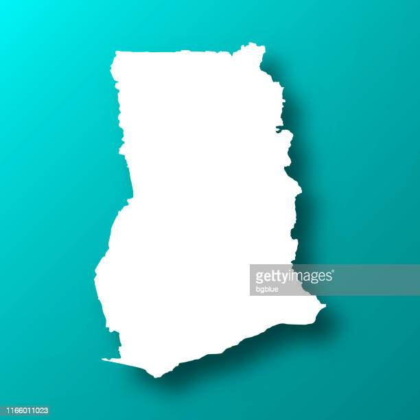 ghana map on blue green background with shadow - accra stock illustrations, clip art, cartoons, & icons