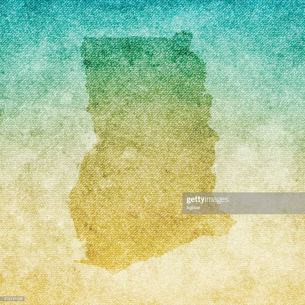 Ghana Map on grunge Canvas Background : stock illustration