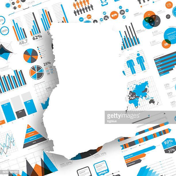 ghana map on infographic background - accra stock illustrations, clip art, cartoons, & icons