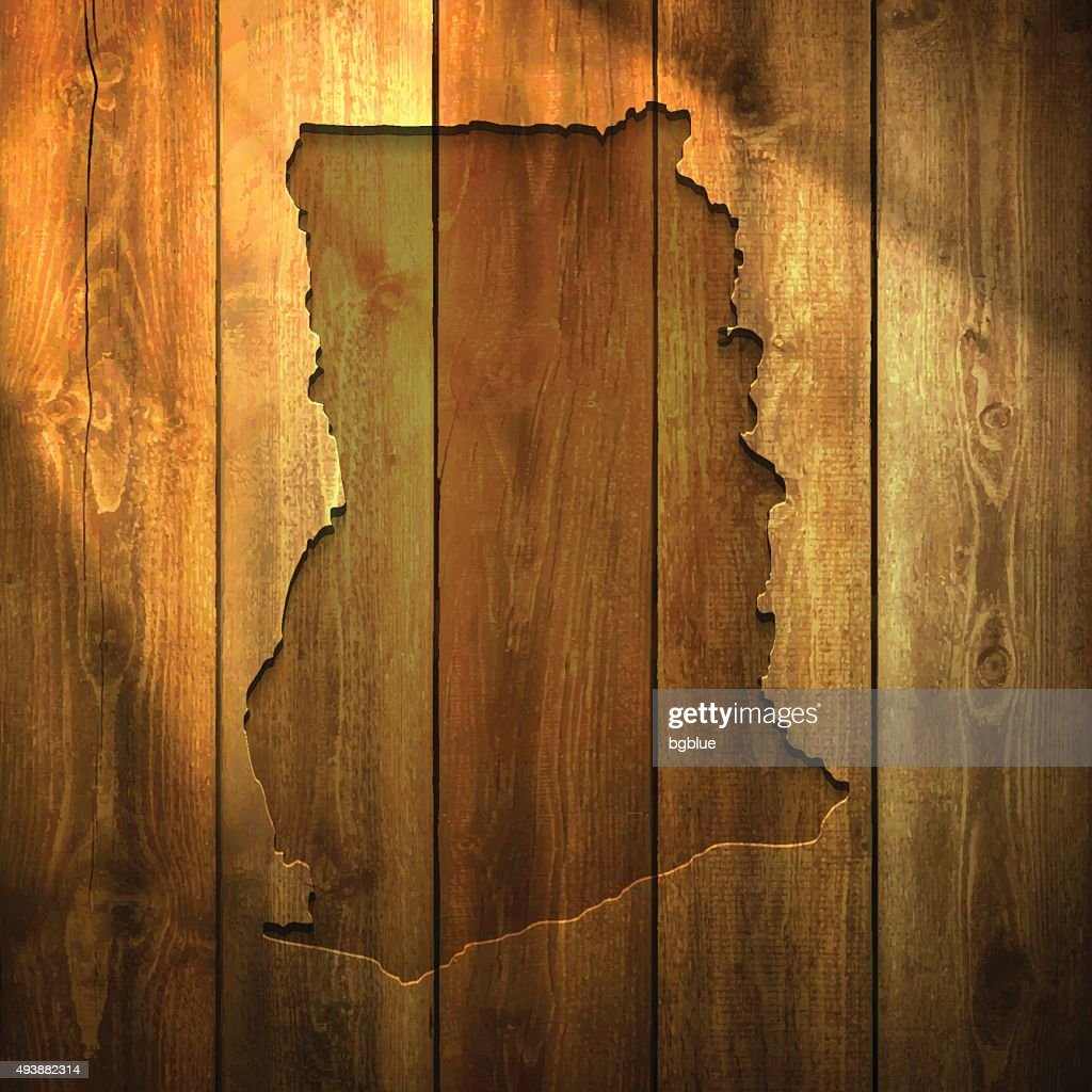 Ghana Map on lit Wooden Background : stock illustration