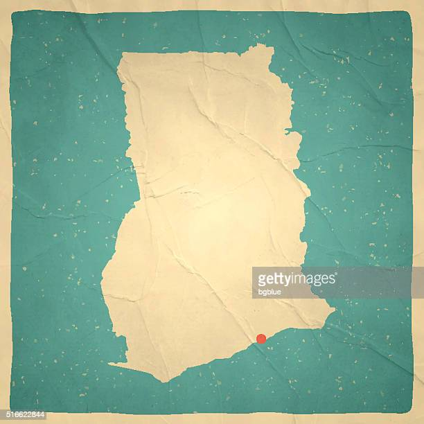 ghana map on old paper - vintage texture - accra stock illustrations, clip art, cartoons, & icons