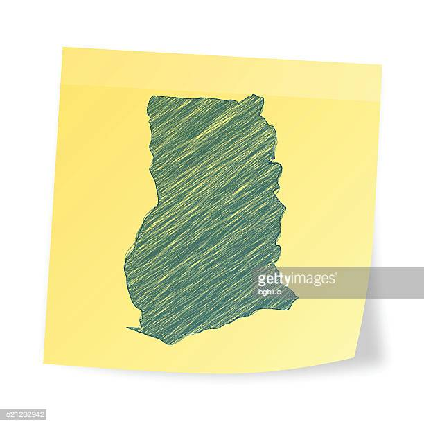 ghana map on sticky note with scribble effect - accra stock illustrations, clip art, cartoons, & icons