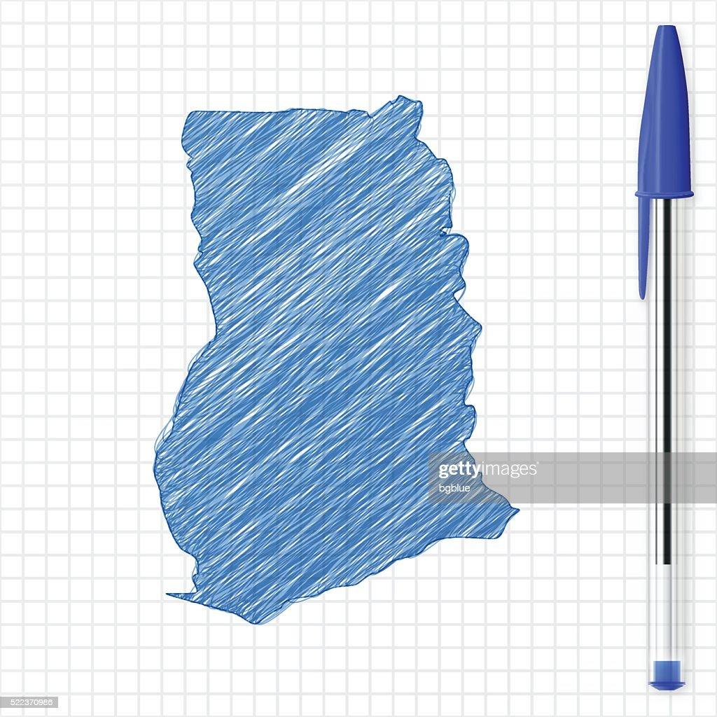 Ghana map sketch on grid paper, blue pen : Stock Illustration