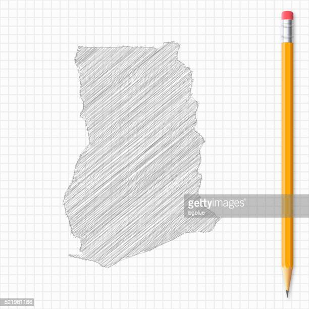 ghana map sketch with pencil on grid paper - ghana stock illustrations, clip art, cartoons, & icons