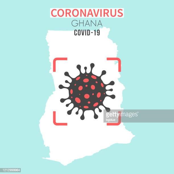 ilustrações, clipart, desenhos animados e ícones de mapa de gana com uma célula coronavírus (covid-19) no visor vermelho - gana