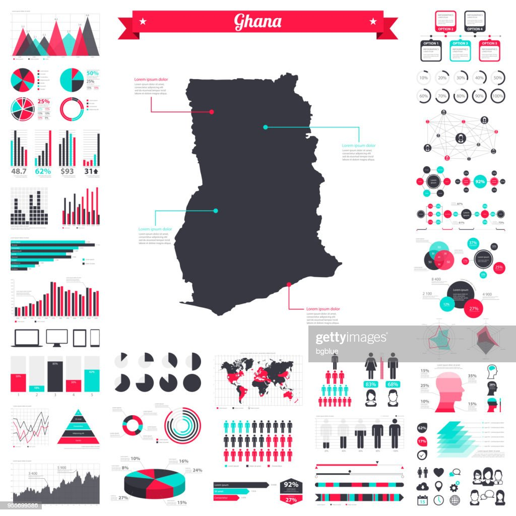 Ghana map with infographic elements - Big creative graphic set : stock illustration
